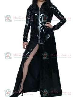 Sexy Black Long Sleeves Front Zipper PVC Dress