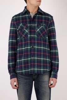 Lauren  Navy Green Plaid Soft Flannel Overshirt by Polo Ralph Lauren