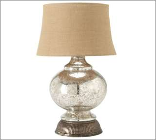 BARN SERENA ANTIQUE MERCURY GLASS ROUND TABLE LAMP NEW IN BOX