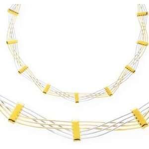 14k Two Tone Gold Twisting Hammock Six Strand Necklace Jewelry