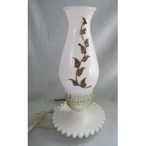 Vintage Milk Glass Electric Hurricane Lamp Light w/ Handpainted Globe