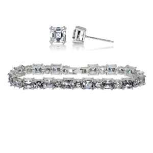 Gift Set Asscher Cut CZ Bracelet & Earrings Set