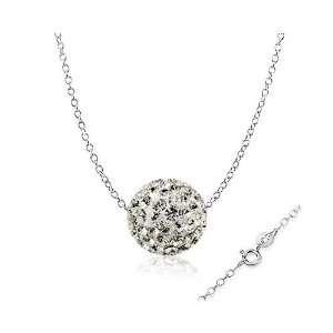 14 Karat White Gold Chain and Swarovski Diamond CZ Crytals Round Ball