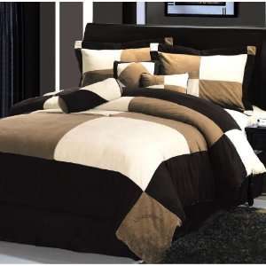 Pieces Black Brown and Beige Micro Suede Comforter Set Bed in a bag