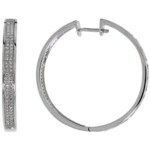 14k White Gold Large Hoop Earrings, w/ 0.50 Carat Brilliant Cut
