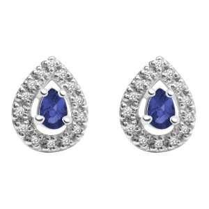 10k White Gold, September Birthstone, Lab Created Sapphire and Diamond