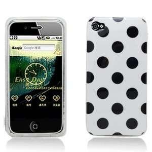 APPLE IPHONE 4 4S AT&T SPRINT VERIZON WHITE AND BLACK POLKA DOT
