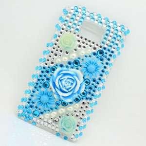 Bling Diamond Blue Flower Hard Case Cover Skin for Samsung