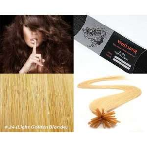 Tip Human Hair Extensions Color #24 (Light Golden Blonde) Beauty