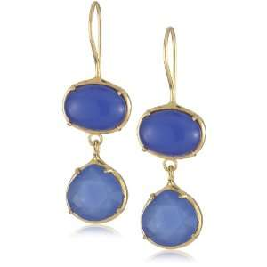 Oval and Tear Drop French Wire Earrings Deep Blue Chalcedony Jewelry