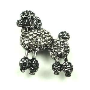 Austrian Rhinestone Poodle Dog Antique Silver Tone Brooch Pin: Jewelry
