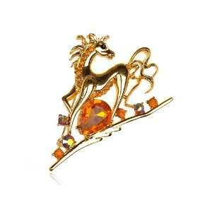 Tone Topaz Clear Crystal Rhinestone Running Horse Animal Pin Brooch