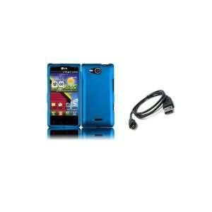 LG Lucid (Verizon) Premium Combo Pack   Blue Hard Shield Case Cover