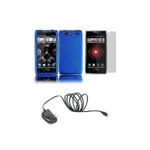 RAZR MAXX (Verizon) Premium Combo Pack   Blue Hard Shield Case Cover