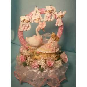 Mother Goose Watching Over Baby Girl Cake Top Centerpiece Decoration