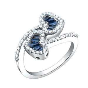 Carat Diamond Sapphire 14k White Gold Heart Design Promise Ring