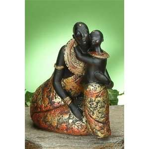 African Tribal Mother Embracing Children Statue Model Figurine Figure
