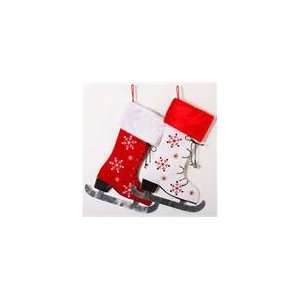 18 Fur Cuffed Red Ice Skate Christmas Stocking with Silver Jingl