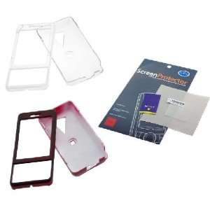 Transparent Clear Crystal Snap On Case + Red Rubberized Crystal