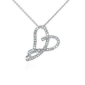 Lovely Cubic Zirconia Heart Pendant, Prong Setting, Diamond Color