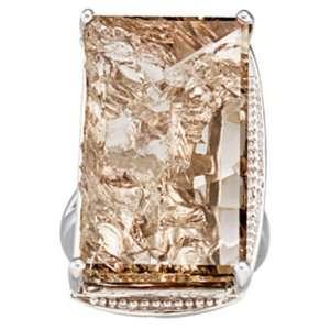 Silver Rectangular Shape Smoky Quartz Ring GEMaffair Jewelry