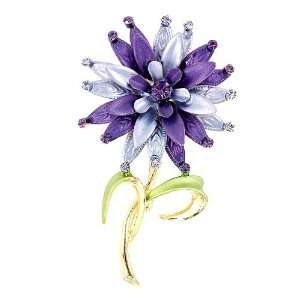 Perfect Gift   High Quality Flower Brooch with Purple