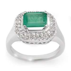 Genuine 1.90 ctw Emerald & Diamond Ring 14K White Gold