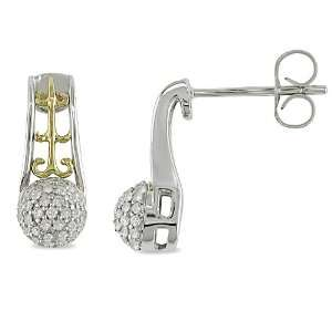 10k Yellow Gold Silver, Diamond Drop Earrings, (.25 cttw, GH Color, I3