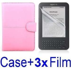 Pink Leather Case Cover for  Kindle 3 Ebook Reader