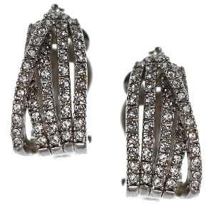 BEGA Silver Tone Crystal Clip On Earrings Jewelry