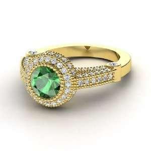 Vanessa Ring, Round Emerald 14K Yellow Gold Ring with Diamond Jewelry