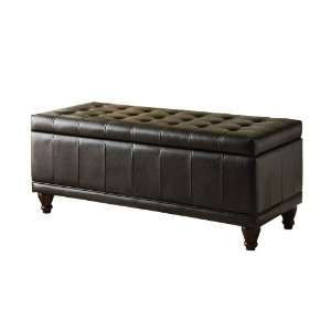 Bench with Tufted Accents, Dark Brown Faux Leather