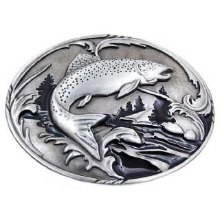 Antique Finish Salmon Fishing Belt Buckle Fish Nature: Clothing