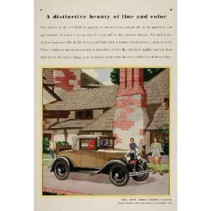 1930 Ad Tan Ford Model A Sport Coupe Vintage Car Auto
