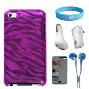 Fit Cool Molded Silicone Pink Zebra Case for iPod Touch 4G + Mirror