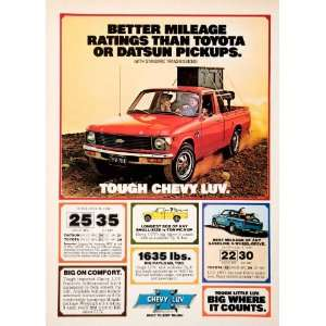 1980 Ad Chevrolet Pickup Truck Payload Mileage Comfort