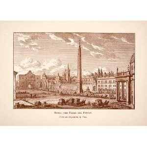 1892 Print Piazza Del Popolo Rome Italy Obelisk Giuseppe Vasi