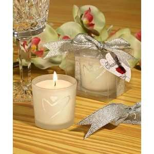 Glass Candle Holder with Silver Heart Design Home