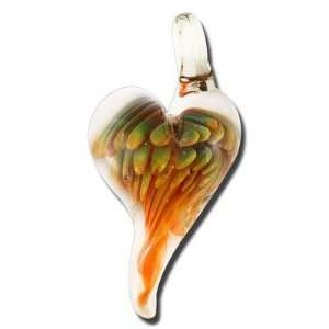 36mm Peacock Swirl Heart Boro Glass Pendant Arts, Crafts & Sewing