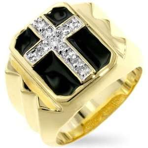 Mens Ring   Studded CZ Cross, Shiny Rhodium and Gold Plating, Enamel