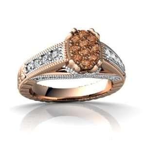 14k Rose Gold Cognac Diamond Antique Style Ring Size 5