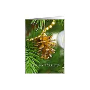 Gold pine cone on Christmas tree, Merry Christmas Parents
