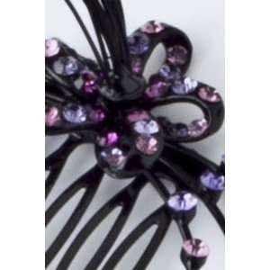 Fashion Hair Accessory ~ Purple Crystal Flower Hair Pin Comb (Style