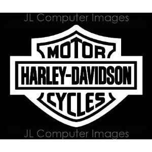 HARLEY DAVIDSON WHITE DECAL 6 X 5 Automotive