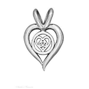 Silver 16mm Open Heart Pendant Inverted Hearts In Center Jewelry