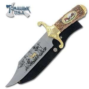 Bowie Hunting Knife with Etched Blade & Sheath   Deer