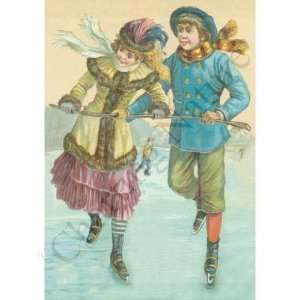 Botanical Victorian Print: Couple Ice Skating: Kitchen & Dining