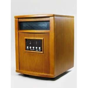 Infrared Quartz 1500 Watt Heater Solid Oak Wooden Cabinet w/ Remote