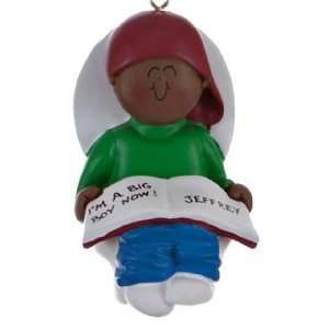 Personalized Ethnic Potty Training Toddler Boy Christmas Ornament