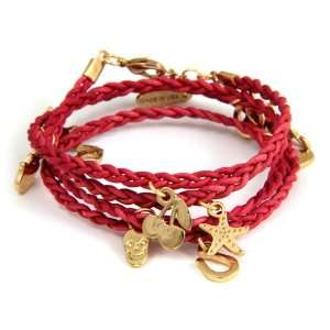 Braided Leather Wrap Bracelet with Charms  Kitchen